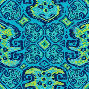 Monstera Kilim (Scuba blue)