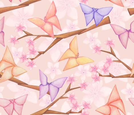 Cherry Blossoms & Butterflies fabric by artfully_minded on Spoonflower - custom fabric