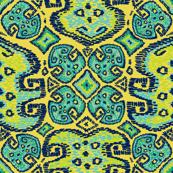 Monstera Kilim (Pantone Meadowlark yellow)
