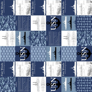 "3"" Navy Faux Quilt Rotated"
