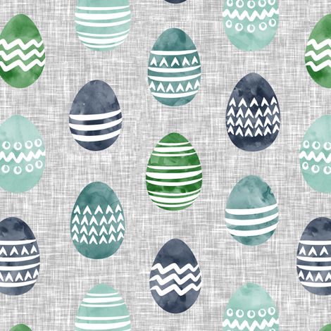 Easter eggs - watercolor multi eggs blue and green on grey  fabric by littlearrowdesign on Spoonflower - custom fabric