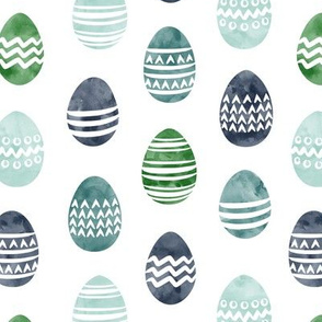 Easter eggs - watercolor multi eggs blue and green