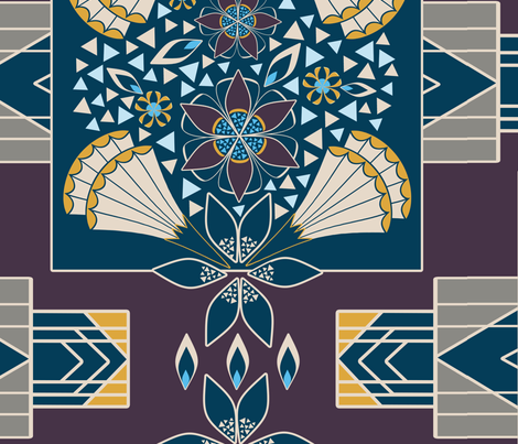 Art Deco Blue, Gold and Wine Large Scale Geometric Floral Blocks WholeCloth Quilt fabric by amborela on Spoonflower - custom fabric