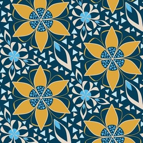 Art Deco Geometric Floral Print in Gold and Blue with Triangle Inlay