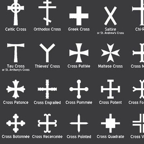 Christian Crosses on Charcoal // Large