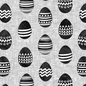 Easter eggs - monochrome eggs on grey