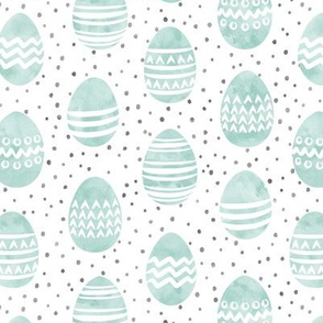 watercolor Easter eggs - dark mint with spots