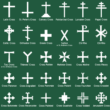 Christian Crosses on Jade // Small fabric by thinlinetextiles on Spoonflower - custom fabric