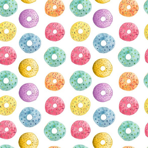 Watercolor Donut Pattern