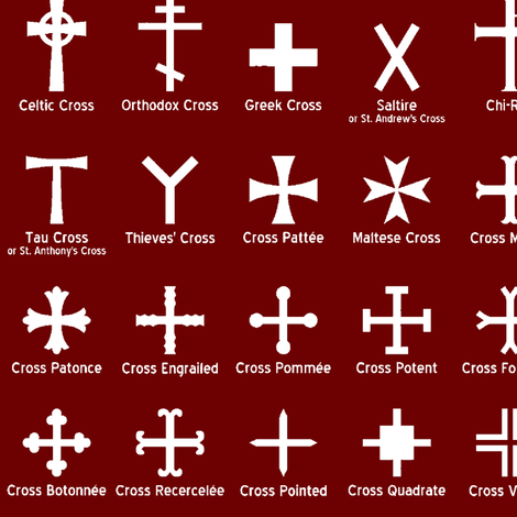 Christian Crosses on Maroon // Large fabric by thinlinetextiles on Spoonflower - custom fabric
