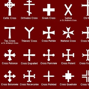 Christian Crosses on Maroon // Large