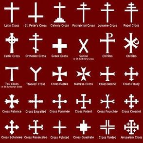 Christian Crosses on Maroon // Small