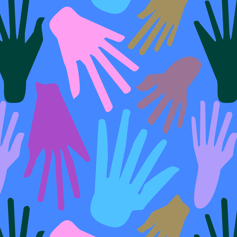 Minimalist Hands in Blue fabric by elliottdesignfactory on Spoonflower - custom fabric