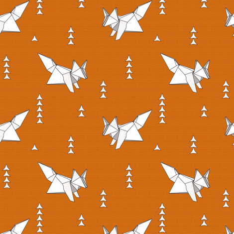 Origami Fox Russet Woodgrain - medium scale fabric by aspenartsstudio on Spoonflower - custom fabric