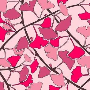 Ginkgo Leaves, DARK PINK, ORIGINAL SCALE