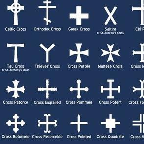 Christian Crosses on navy // Large