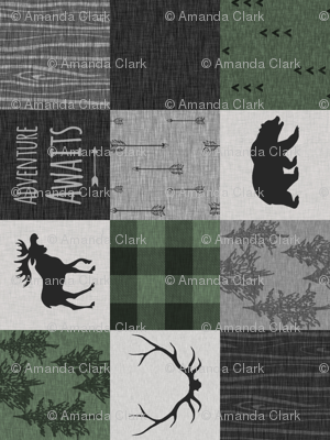Adventure Awaits Quilt- Pine Green, Black And Grey - ROTATED