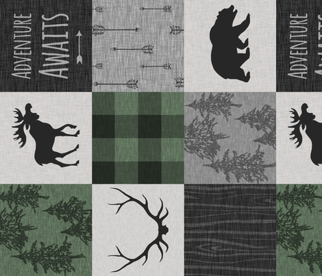 Adventure Awaits Quilt- Pine Green, Black And Grey - ROTATED fabric by sugarpinedesign on Spoonflower - custom fabric