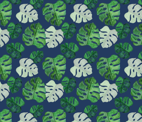 Monstera Watercolour on navy medium fabric by sylviaoh on Spoonflower - custom fabric