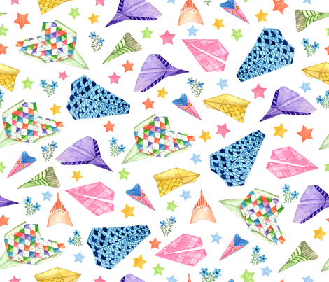 origami-airplane fabric by y_me_it's_me on Spoonflower - custom fabric