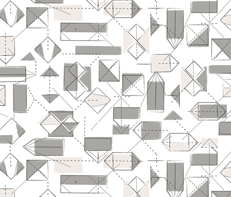 origami folds in taupe fabric by lburleighdesigns on Spoonflower - custom fabric