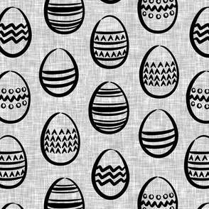 Easter eggs monochrome on grey