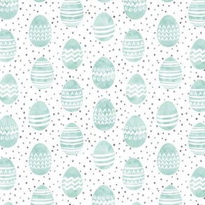 (small scale) watercolor Easter eggs - dark mint with spots