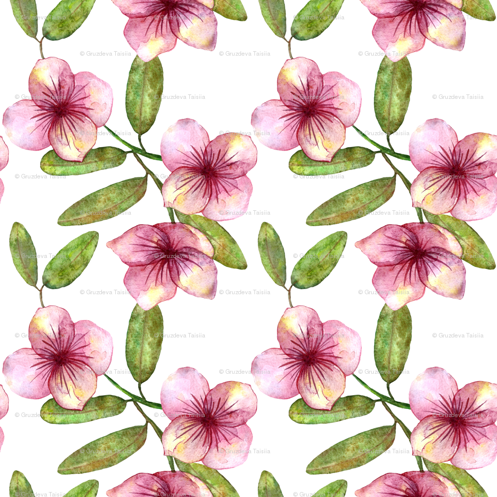 Beautiful Delicate Seamless Pattern With Pink Flowers Watercolor