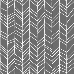 Dark Grey Crazy Chevron Herringbone (charcoal) Hand Drawn Geometric Pattern GingerLous