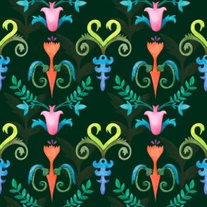 Floral geometric watercolor pattern on dark green