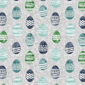 (small scale) Easter eggs - watercolor multi eggs blue and green on grey
