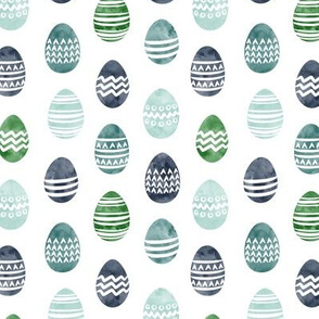 (small scale) Easter eggs - watercolor multi eggs blue and green
