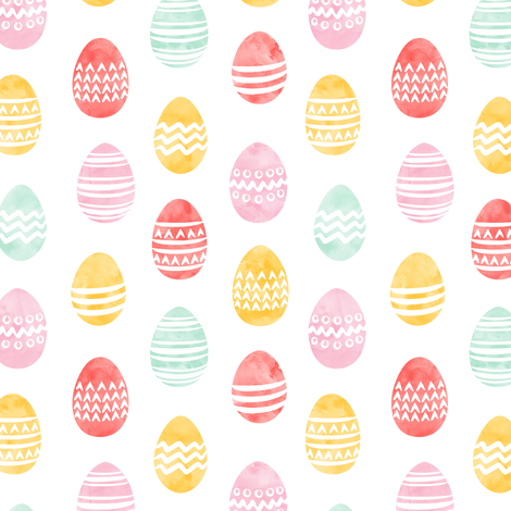 (small scale) Easter eggs - watercolor multi eggs fabric by littlearrowdesign on Spoonflower - custom fabric