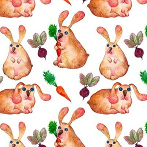 Cute rabbits watercolor children seamless pattern