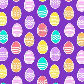 (small scale) Easter eggs - brights on purple