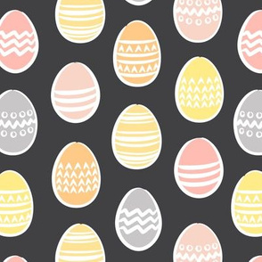 Easter eggs on grey