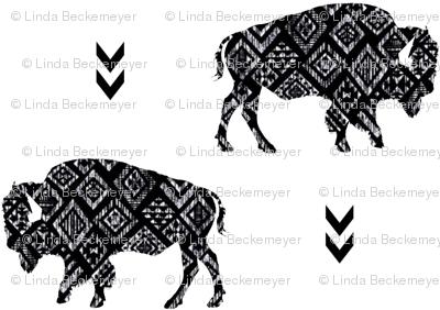 Aztec Bison - Black + White Distressed Tribal Buffalo GingerLous