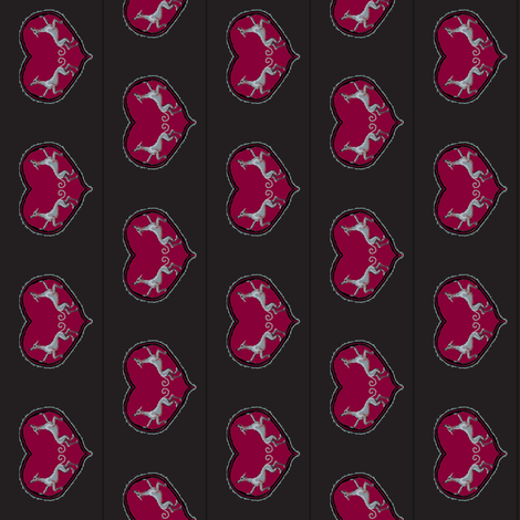 Sighthounds_RedHeart/BlackBackground--V fabric by cloudsong_art on Spoonflower - custom fabric
