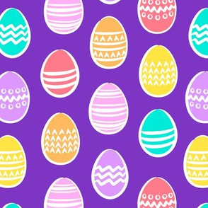Easter eggs - brights on purple