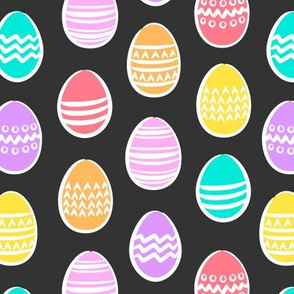 Easter eggs - brights on grey