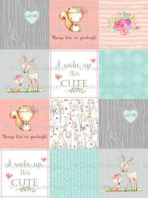 Woodland Patchwork Nursery Quilt - Baby Girl Blanket Deer Fox Bedding Peach Mint Gray GingerLous