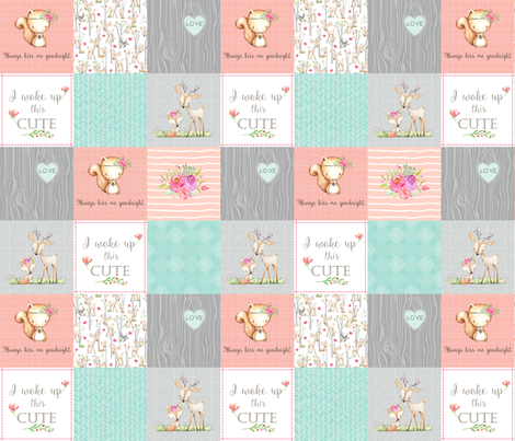 Woodland Patchwork Nursery Quilt - Baby Girl Blanket Deer Fox Bedding Peach Mint Gray GingerLous fabric by gingerlous on Spoonflower - custom fabric