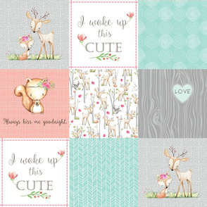 Woodland Patchwork Nursery Quilt - Baby Girl Blanket Deer Fox Bedding Peach Mint Gray GingerLous