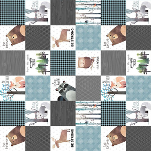 "3"" BLOCKS- Woodland Critters Patchwork Quilt (rotated) - Bear Moose Fox Raccoon Wolf, Gray & Blue Design"