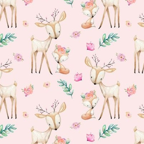 Pink Sweet Deer & Fox - Pink Flowers Woodland Animals Baby Girl Nursery Bedding