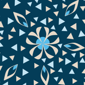 Small Floral and Triangle Print, Art Deco Style in Blue and Khaki