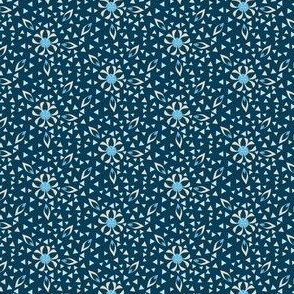 Small Floral and Triangle Print, Art Deco Style in Blue and Khaki by Amborela