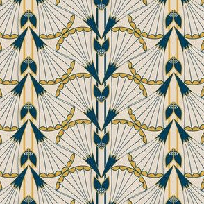 Art Deco Style Trumpet Flower with Stripes in Indigo, Gold and Khaki
