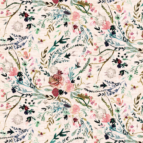 Fable Floral SML (blush) fabric by nouveau_bohemian on Spoonflower - custom fabric