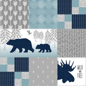 Camp Yellowstone Cheater Quilt – Bears Moose Wholecloth – Navy Gray Blue Design